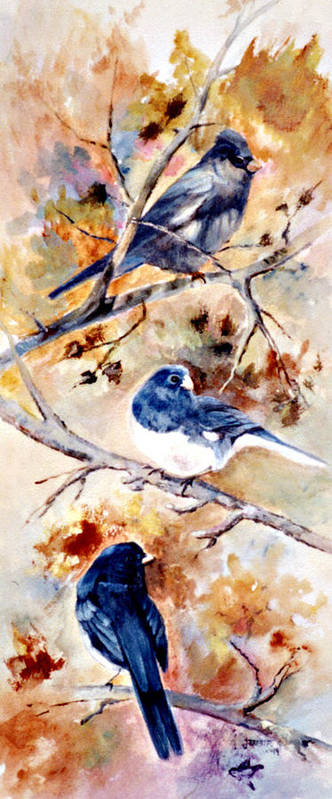 Animals Art Print featuring the painting Birds Of Different Feathers by Jimmie Trotter