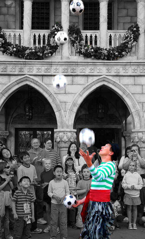 Juggler Art Print featuring the photograph Juggler In Epcot Center by Jim Hughes