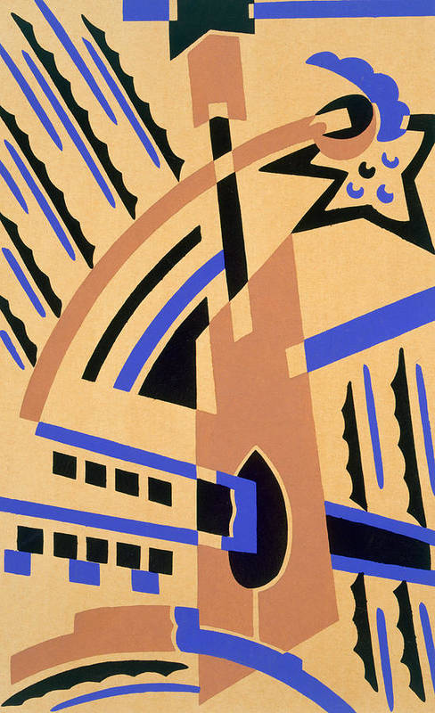 Constructivist Art Print featuring the painting Design From Nouvelles Compositions Decoratives by Serge Gladky