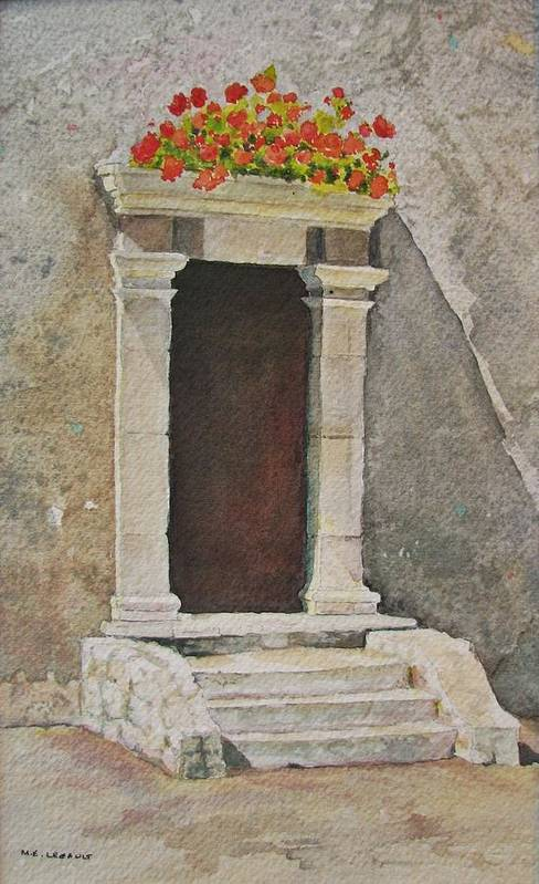 Antique Doorway Art Print featuring the painting Ancient Doorway by Mary Ellen Mueller Legault