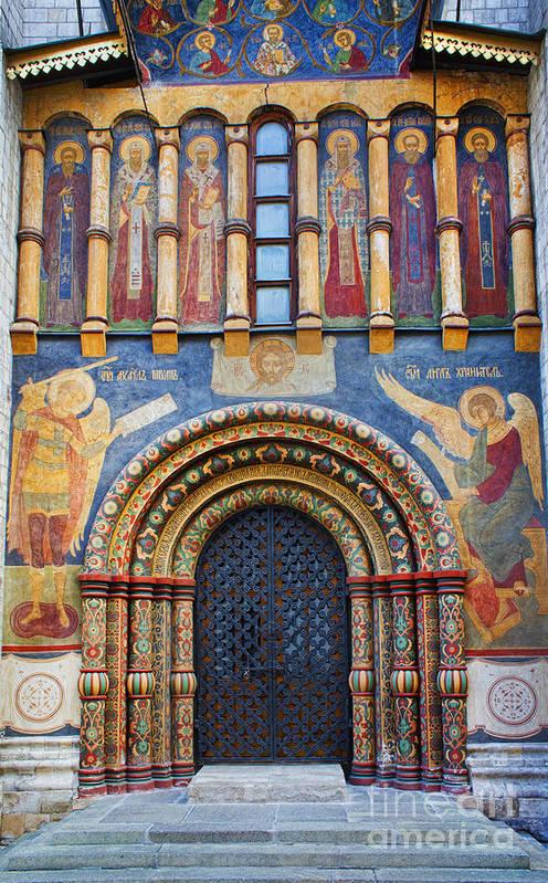 Assumption Cathedral Entrance Art Print featuring the photograph Assumption Cathedral Entrance by Elena Nosyreva