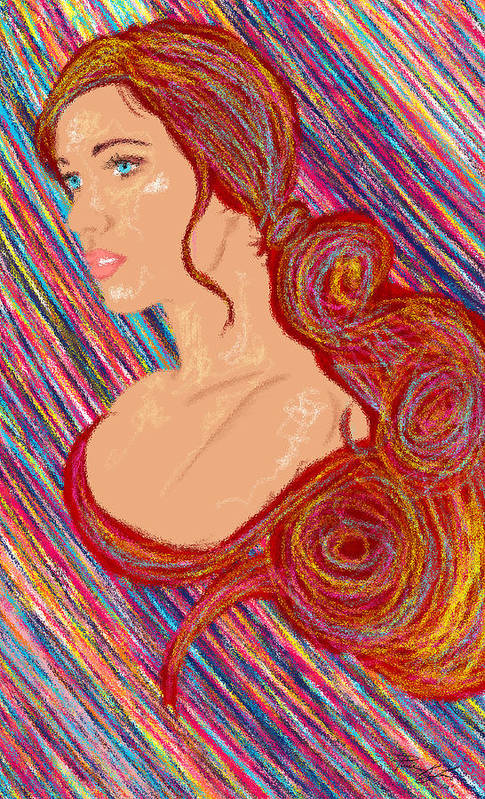 Hair Abstract Art Art Print featuring the painting Beauty Of Hair Abstract by Kenal Louis
