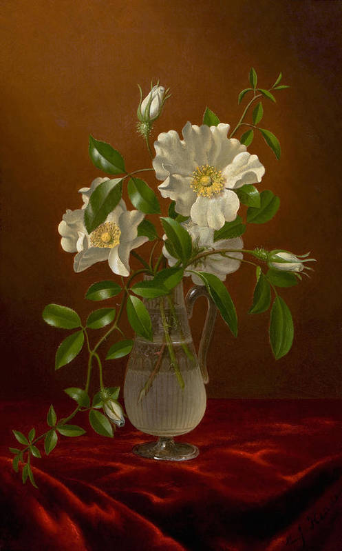 Vintage Art Print featuring the painting Cherokee Roses In A Glass Vase C1883-1888 by Sheila Savage