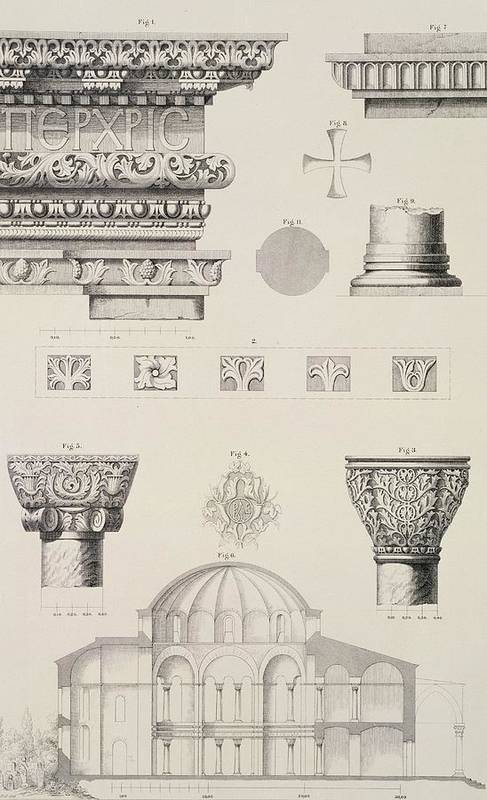 Byzantine; Capitals; Entablature; Decoration; Print; Istanbul; Turkey; Saint; Ss Art Print featuring the drawing Cross Section And Architectural Details Of Kutciuk Aja Sophia The Church Of Sergius And Bacchus by D Pulgher