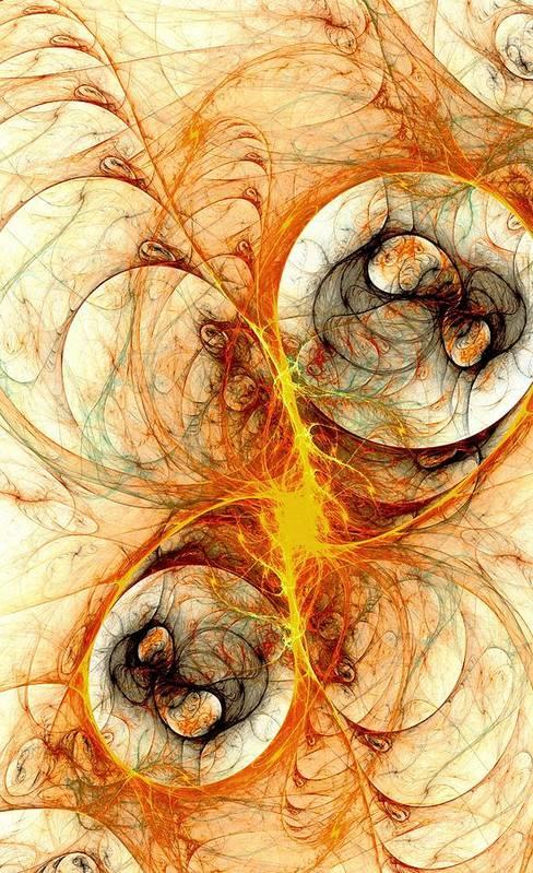 Computer Art Print featuring the digital art Fiery Birth by Anastasiya Malakhova