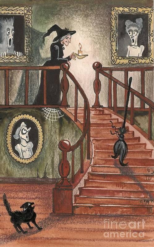 Halloween Art Print featuring the painting Halloween Witch by Margaryta Yermolayeva