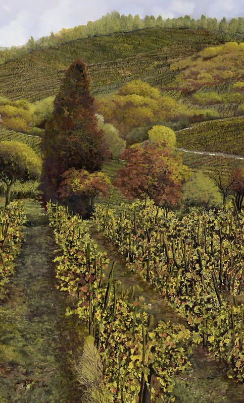 Vineyard Art Print featuring the painting I Filari In Autunno by Guido Borelli