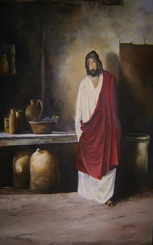 Jesus Art Print featuring the painting Jesus- The First Miracle- by James Neeley