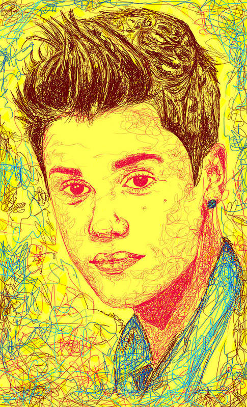 Justin Bieber Art Print featuring the drawing Justin Bieber In Line by Kenal Louis