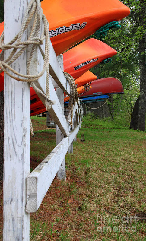 Spring In Maine Print featuring the photograph Kayaks On A Fence by Michael Mooney