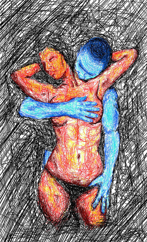Lovers Wired Together Art Print featuring the drawing Lovers Wired Together by Kenal Louis