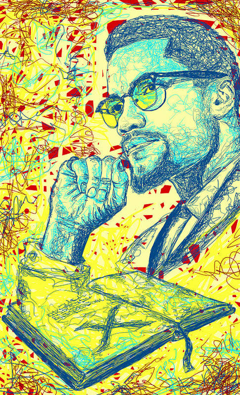 Malcolm X Drawing In Lines Print featuring the drawing Malcolm X Drawing In Lines by Pierre Louis