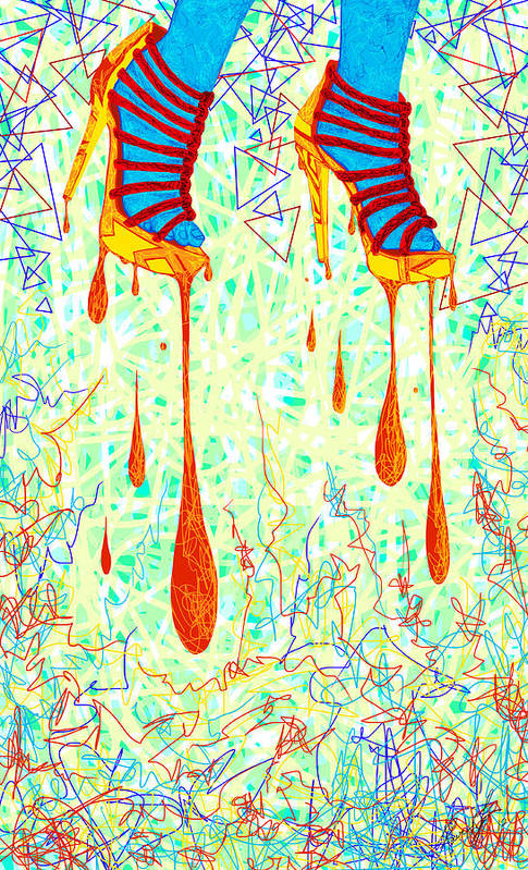 Digital Art Of High Heels Print featuring the drawing Sexy High Heels Gold Abstraction by Kenal Louis
