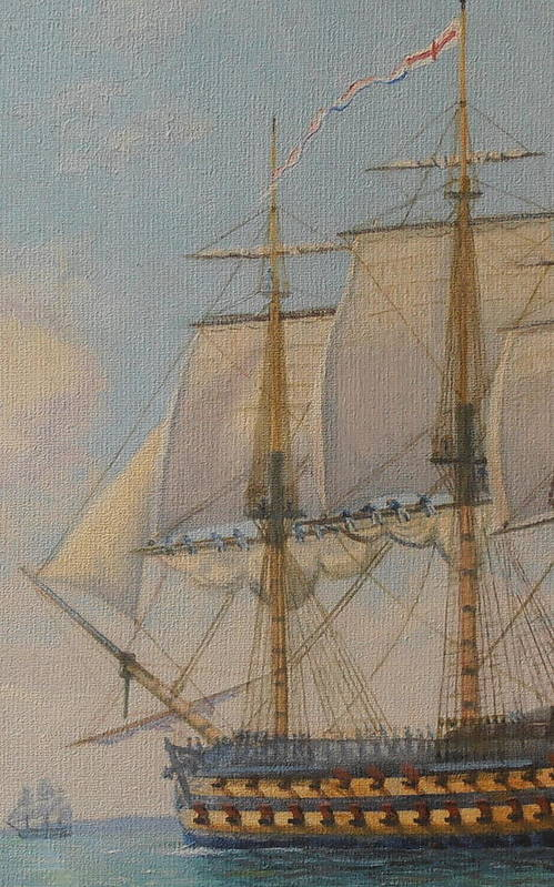 Oil Painting Art Print featuring the painting Ship-of-the-line by Elaine Jones