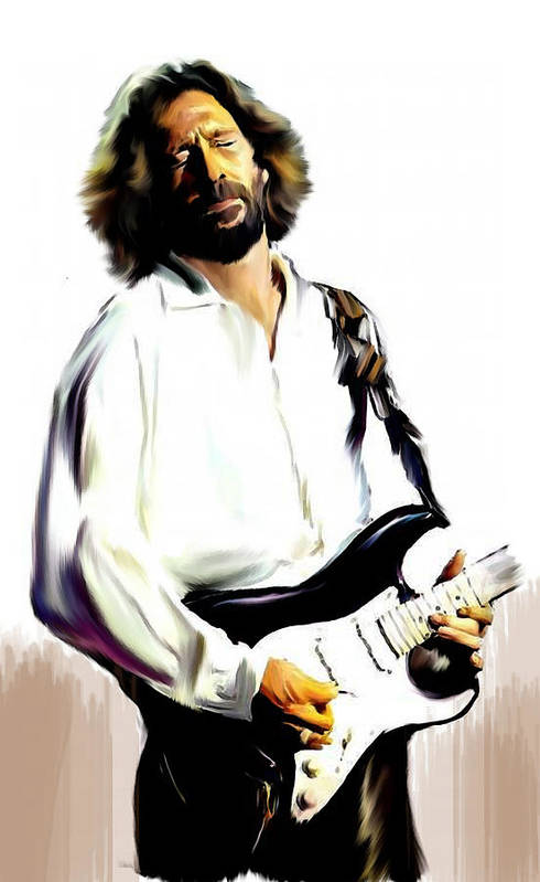 Eric Clapton Art Print featuring the painting Slow Hand Eric Clapton by Iconic Images Art Gallery David Pucciarelli