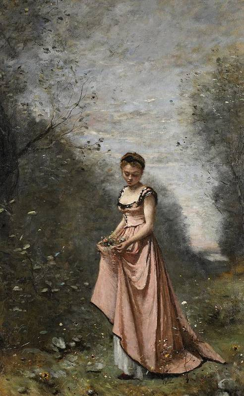 Female; Young Woman; Girl; Walking; Rural; Countryside; Woods; Collecting; Flowers; Dress; Serene; Tranquil; Peaceful; Youth; Youthful; Adolescent; Spring; Springtime Art Print featuring the painting Springtime Of Life by Jean Baptiste Camille Corot