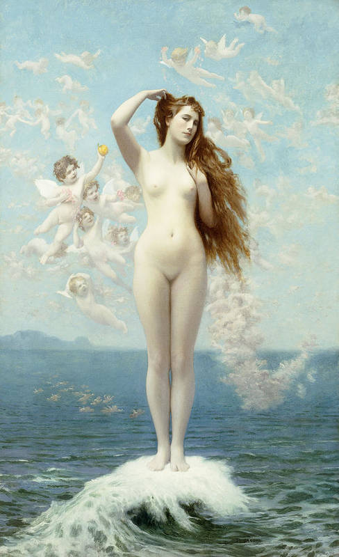 Academic Art Print featuring the painting Venus Rising The Star by Jean Leon Gerome