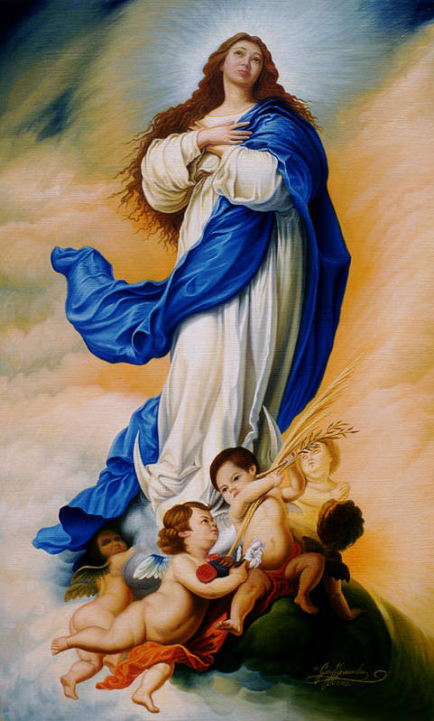 Immaculate Conception Art Print featuring the painting Virgin Of The Immaculate Conception After Murillo by Gary Hernandez