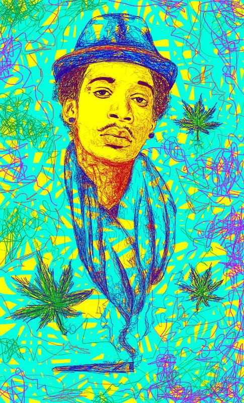 Wiz Khalifa Drawing Art Print featuring the digital art Wiz Khalifa Drawing In Line by Kenal Louis