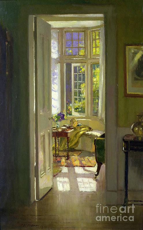 Window; Door; Sunlight; Shadow Art Print featuring the painting Interior Morning by Patrick Williams Adam