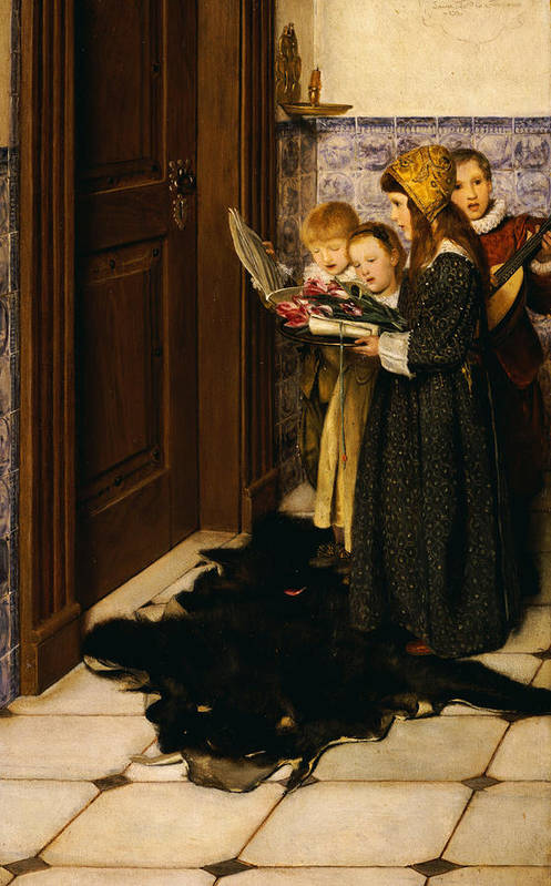 A Carol (oil On Panel) Art Print featuring the painting A Carol by Laura Theresa Alma-Tadema