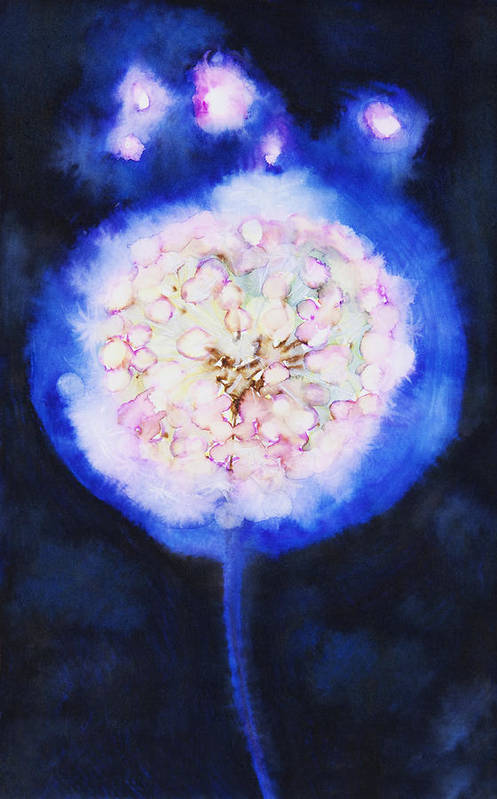 Abstract Art Print featuring the painting Cosmic Bloom by Tara Thelen