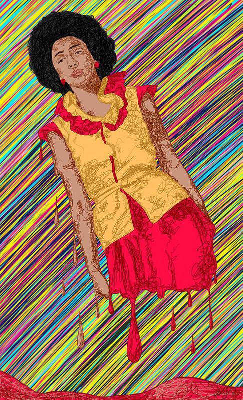 Fashion Abstraction De Fella Art Print featuring the painting Fashion Abstraction De Fella by Kenal Louis