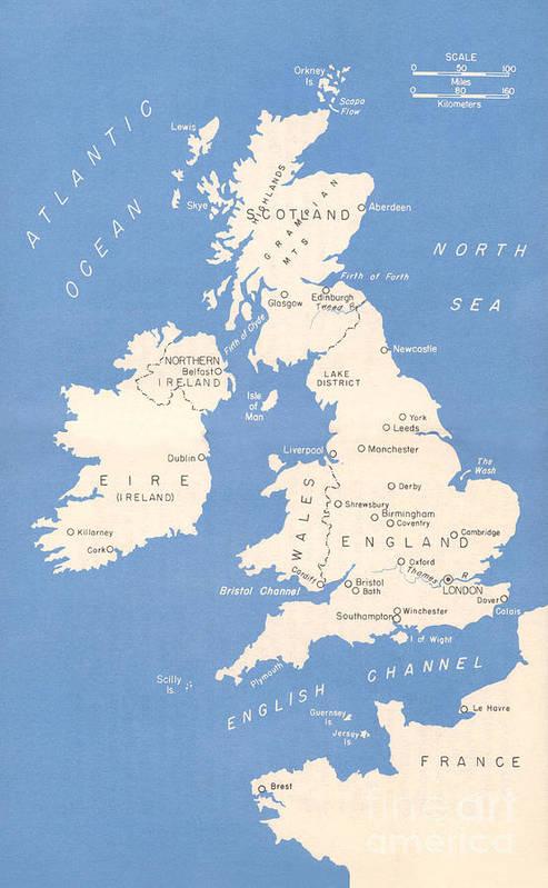 Great Britain Map 1942 Art Print by John Turek on