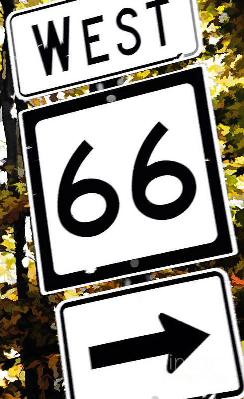 Highway Art Print featuring the photograph Heading West On Route 66 by Kathleen K Parker