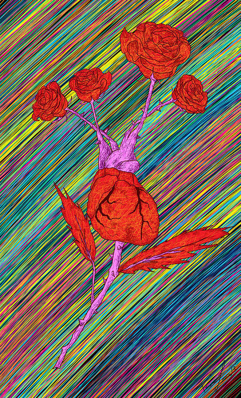 Heart Made Of Roses Print featuring the painting Heart Made Of Roses by Kenal Louis