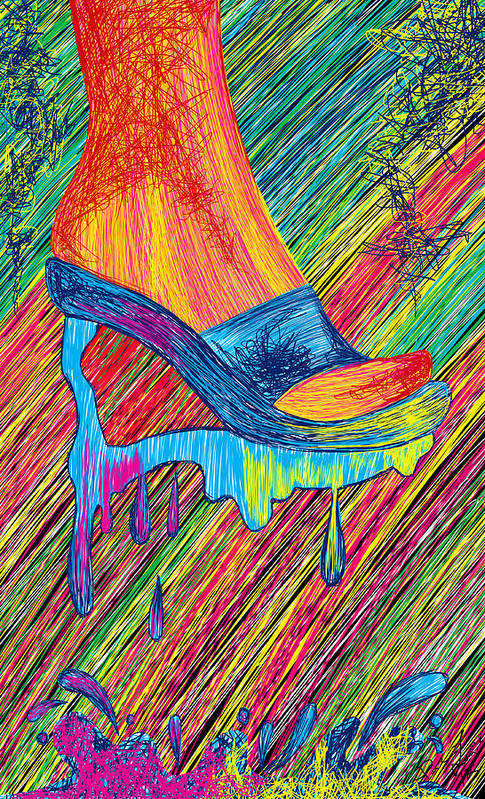 High Heels Art Print featuring the painting High Heels Abstraction by Kenal Louis