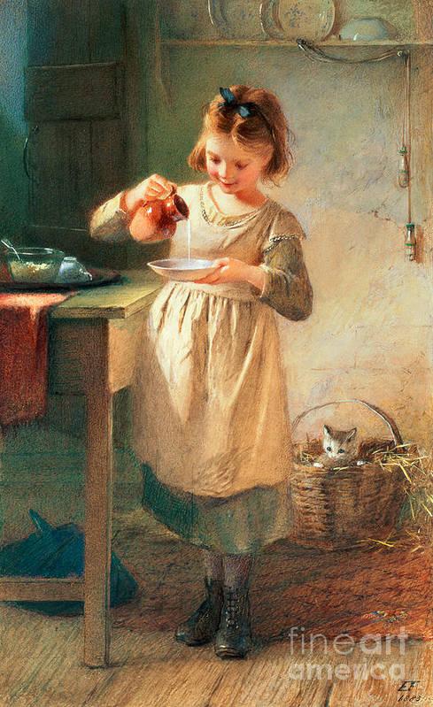 Kitten; Milk; Bowl; Jug; Kitchen; Child; Eating Art Print featuring the painting Kitty's Breakfast by Farmer Emily