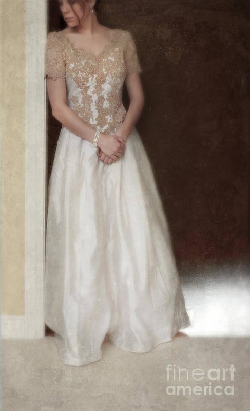 Beautiful Art Print featuring the photograph Lacy In Ecru Lace Gown by Jill Battaglia