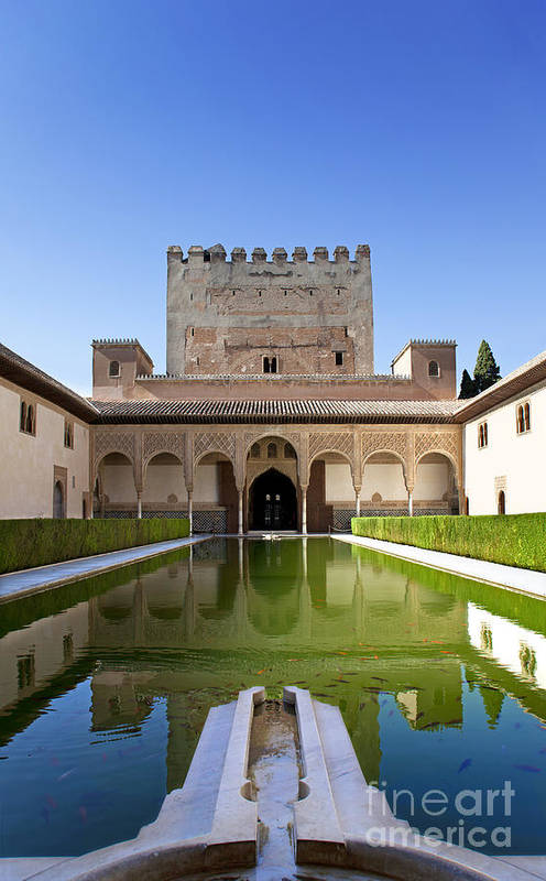 Alhambra Art Print featuring the photograph Nasrid Palace From Fish Pond by Jane Rix