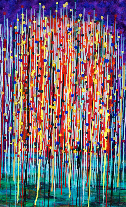 Abstract Art Print featuring the painting 14-19 Purple Forest by Patrick OLeary
