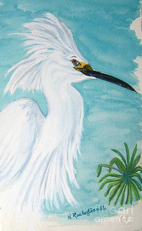 Wading Bird Art Print featuring the painting Egret by Nancy Rucker