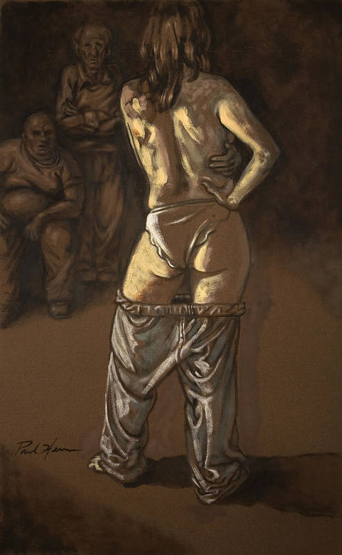 Nude Art Print featuring the painting Angelique With Men by Paul Herman