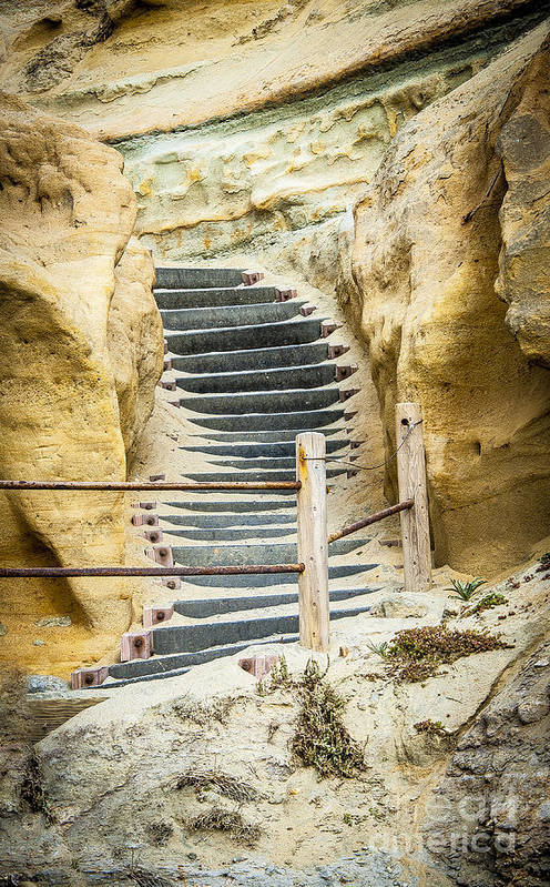 Rocks Art Print featuring the photograph Beach Stairs by Rich Governali