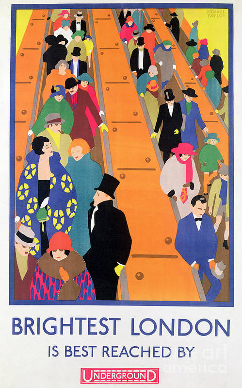 Advertisement; Poster; Tube; Crowd Art Print featuring the painting Brightest London Is Best Reached By Underground by Horace Taylor