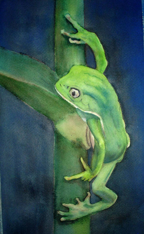 Frog Art Print featuring the painting Brilliant Green Poison Dart Frog by Kerra Lindsey