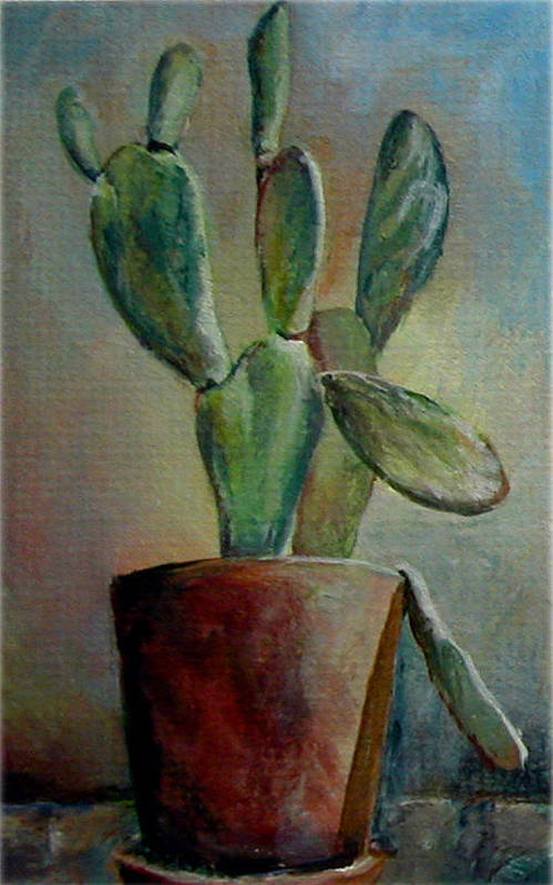 Flower Art Print featuring the painting Cactus 1 by Muriel Dolemieux