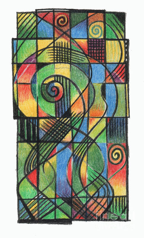 Celtic Art Print featuring the drawing Celtic Cruciform by Andy Mercer