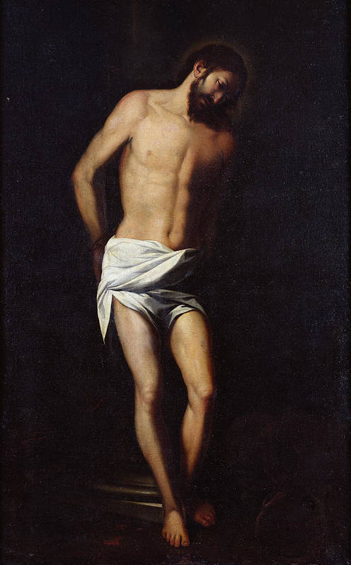 Jesus Art Print featuring the painting Christ Bound To The Column by Alonso Cano