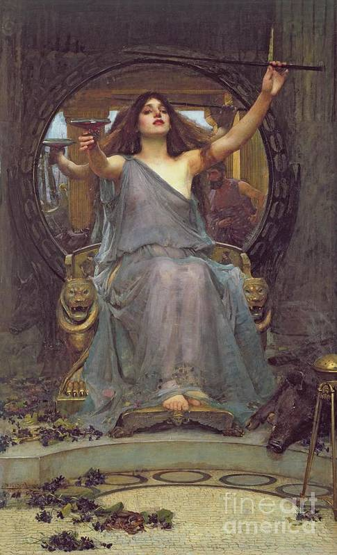 Circe Offering The Cup To Ulysses Art Print featuring the painting Circe Offering The Cup To Ulysses by John Williams Waterhouse