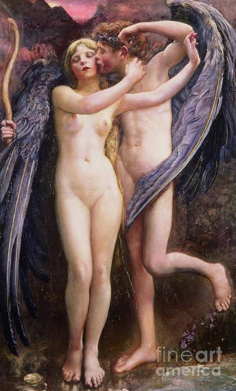 Cupid And Psyche Art Print featuring the painting Cupid And Psyche by Annie Louisa Swynnerton