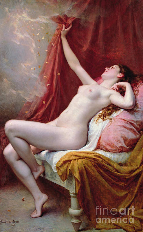 Nude Art Print featuring the painting Danae by Alexandre-Jacques Chantron