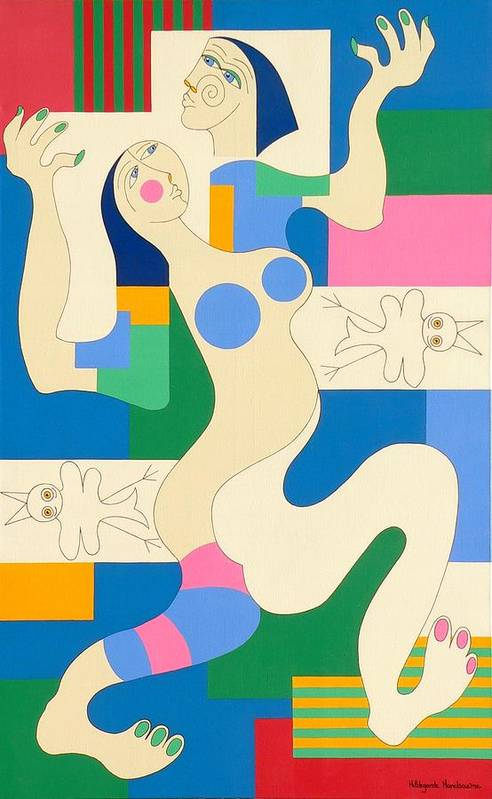 Modern Constructivisme People Birds Original Stylisme Art Print featuring the painting Dancing by Hildegarde Handsaeme