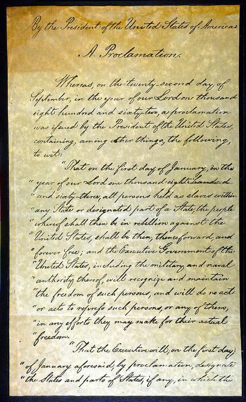 1863 Art Print featuring the photograph Emancipation Proc., P. 1 by Granger