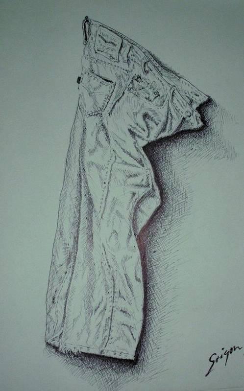 Pants Art Print featuring the drawing Fac Fidelis by SAIGON De Manila