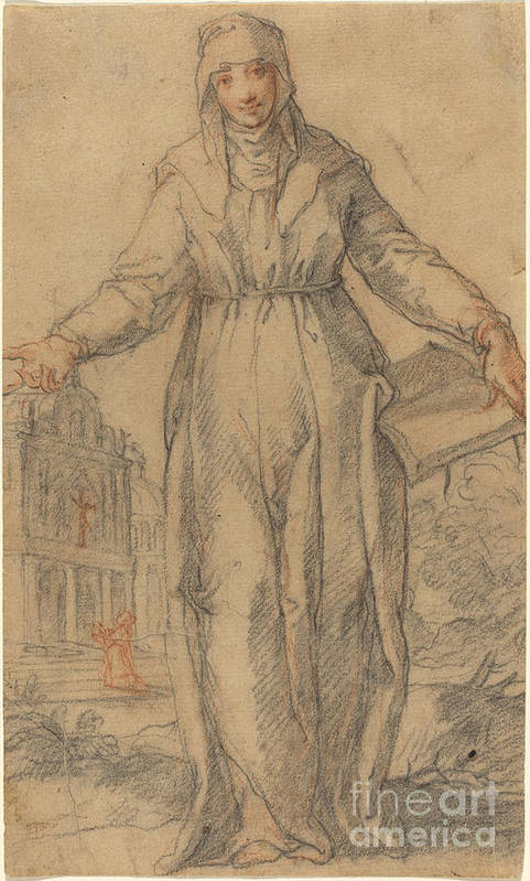 Art Print featuring the drawing Female Saint (saint Clare Of Assisi Or Saint Catherine Of Siena?) by Italian 17th Century